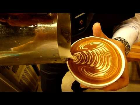 How to make free pour latte art easily on no crema coffee without an espresso machine - YouTube