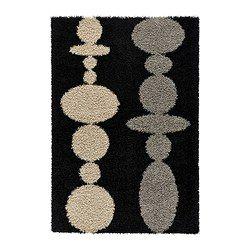 "HINNERUP rug, high pile, black Length: 6 ' 5 "" Width: 4 ' 4 "" Surface density: 7 oz/sq ft Length: 195 cm Width: 133 cm Surface density: 2050 g/m²"