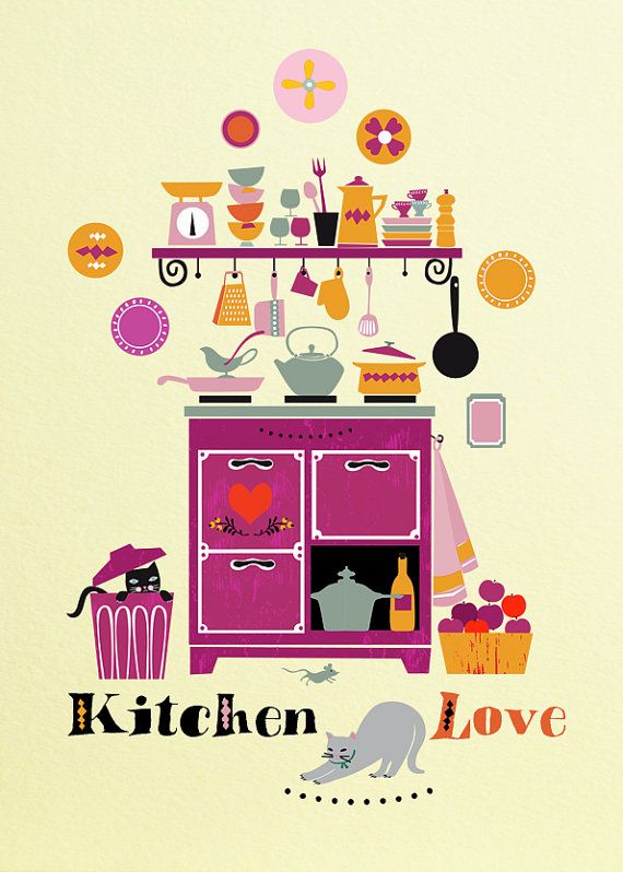 Love KitchenIllustration by sevenstar on Etsy, $23.00