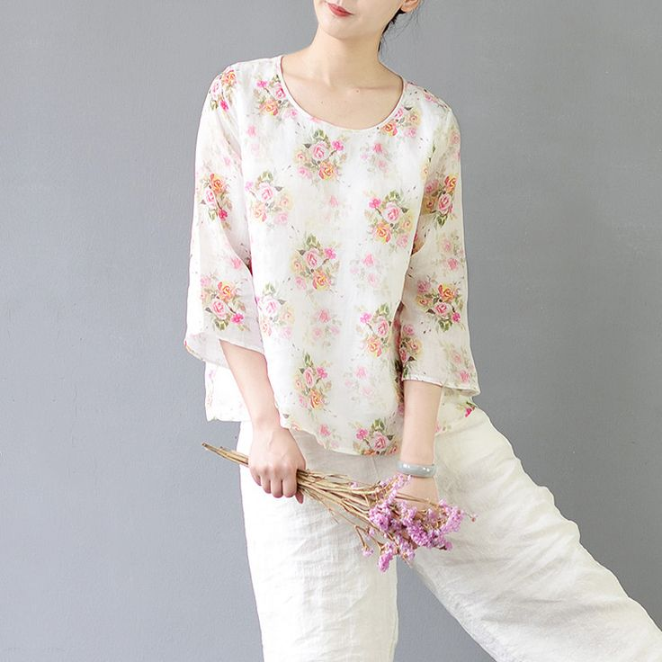 Aviva sketch floral printed cropped blouse  #linen #pants #linendress #OnePiece #overalls #loosepants