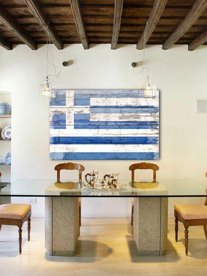 Greek Flag (Reclaimed Wood) by Parvez Taj at Gilt