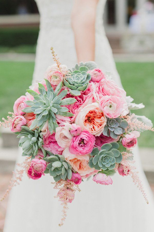Pastel pink flower bouquet with green succulents