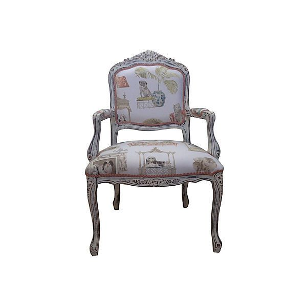 Pre-Owned French-Style Dog-Motif  Armchair ($685) ❤ liked on Polyvore featuring home, furniture, chairs, upholstered armchair, french armchairs, second hand chairs, upholstery chairs and white fabric chair