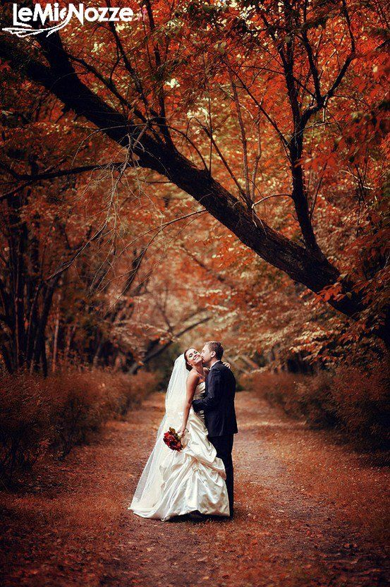 Beautiful bride and groom shot for an autumn wedding. Our favorite season.