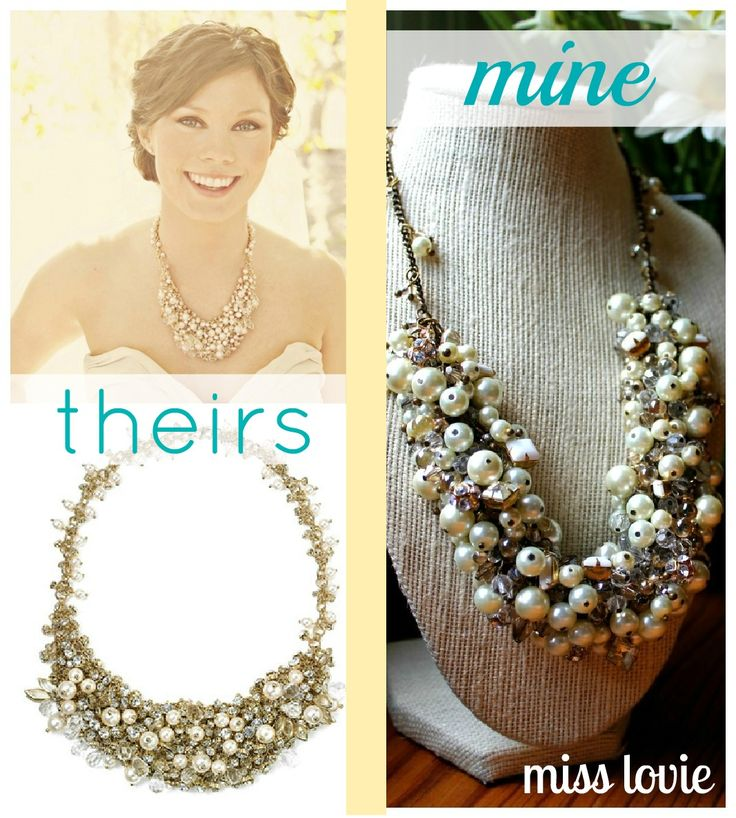 Miss Lovie: DIY Statement Bridal Necklace + Tutorial    A gorgeous bib necklace sparkles with crystals and faceted stones, while faux pearls add the perfect final touch. Lobster clasp closure. Approx. chain length: 19″ with 3″ extender. Approx. drop: 2″ Approx. pendant width: 2″.