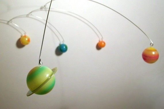 9 Planets Mobile hanging art sculpture by Julie by frithmobiles, $125.00