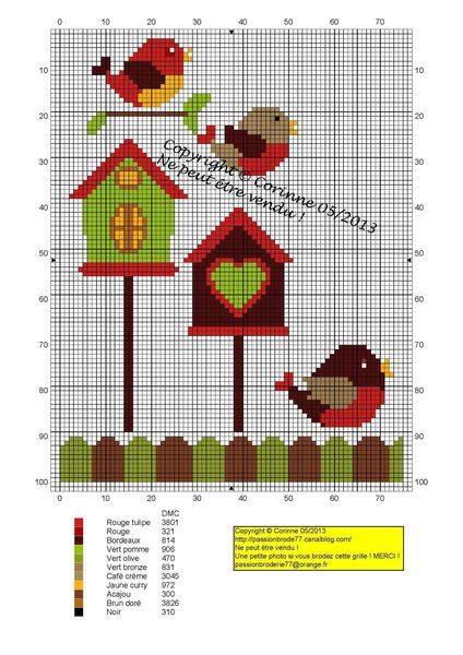 oiseau - bird - nichoirs - Point de croix - cross stitch - Blog : http://broderiemimie44.canalblog.com/