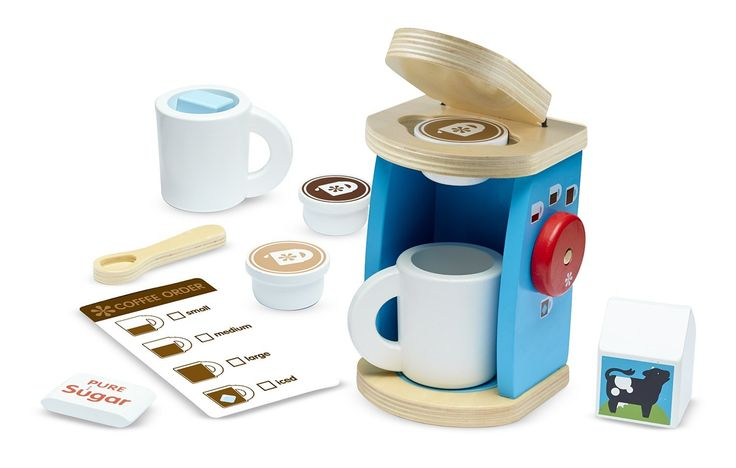 Amazon.com: Melissa & Doug 11-Piece Brew and Serve Wooden Coffee Maker Set - Play Kitchen Accessories: Toys & Games