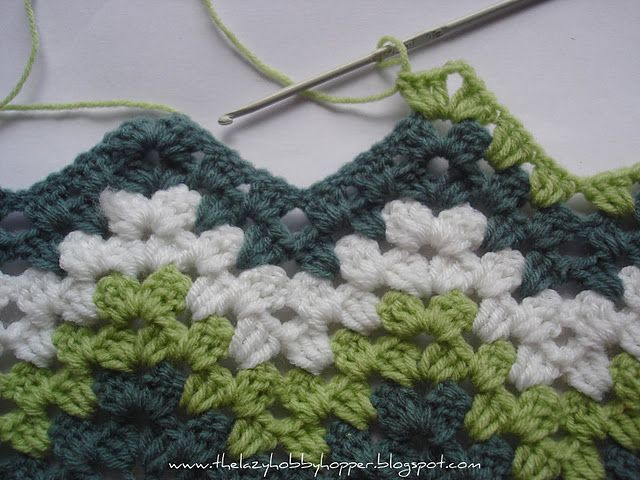 """addictive pattern for """"granny ripple"""" - great for scrap yarns."""