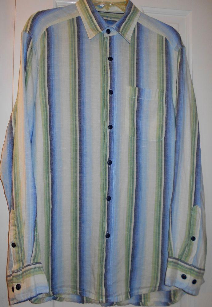a99e8d9091 Mens  158 INDIGO PALMS DENIM BY TOMMY BAHAMA Blue Green Striped Linen LS  Shirt~M  TommyBahama  IndigoPalms  Linen  VerticalStriped  ButtonFront   MensFashion ...