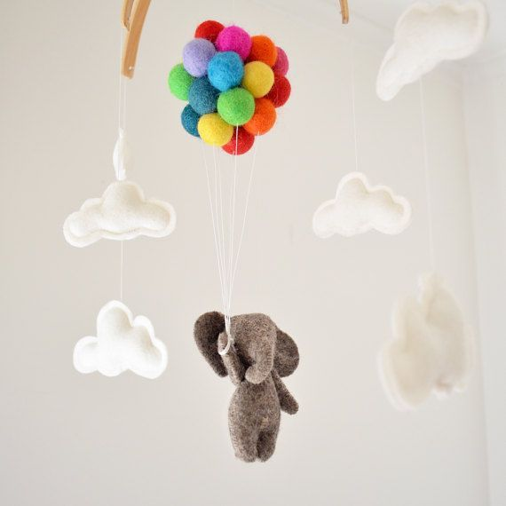 Baby Mobile Elephant Flying Rainbow Balloons Clouds, Woodland Nursery Decor Baby Shower Newborn Gift Garland