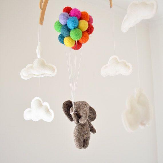 Baby Mobile Elefant fliegenden Regenbogen Ballons Wolken, Woodland Kinderzimmer Dekor Baby Shower Neugeborenen Geschenk Girlande