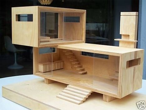 Natural Wood MODERN DOLLHOUSE Neutra Case Study & Eames - modernist cantilevered design by an architect and cabinet-maker. Originally sold on eBay.