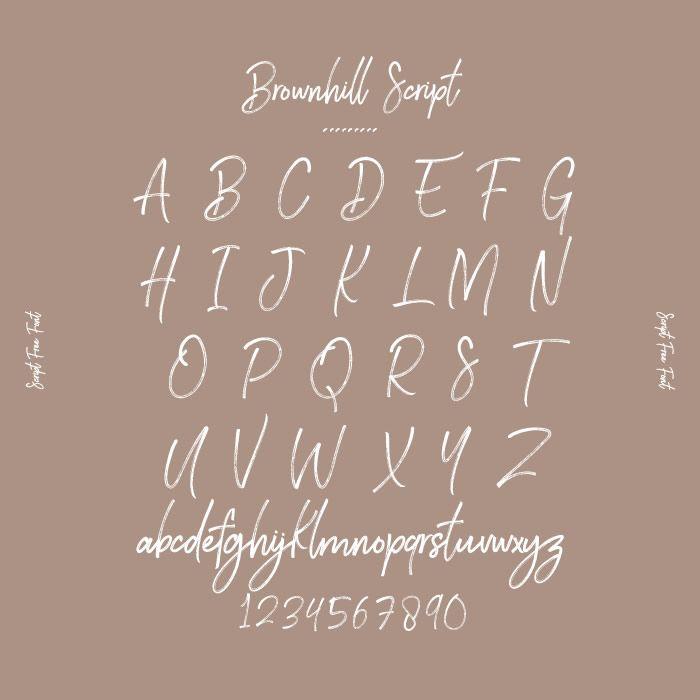 Brownhill Script オシャレなデザインに取り入れたい デザイナーがこっそり教える筆記体フリーフォント7選 箱庭 Haconiwa 女子クリエーターのためのライフスタイル作りマガジン レタリングアルファベット フリーフォント フォントアルファベット