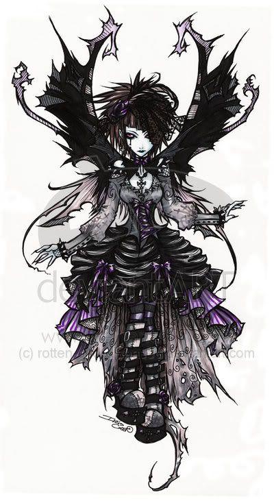 El hada-ángel gótico que cualquier dragón querría de dueña.    Gothic fairy by ~blueangelwar on deviantART