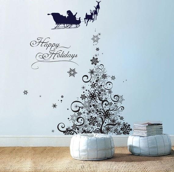 Snowflake Tree Vinyl Wall Art Decal