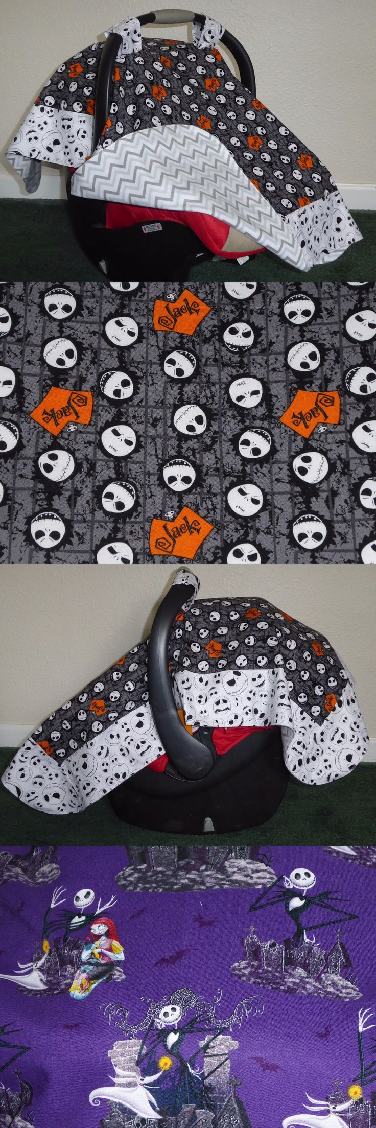 Car Seat Accessories 66693: **Nightmare Before Christmas** Handmade Baby Infant Car Seat Canopy-Cover -> BUY IT NOW ONLY: $34.99 on eBay!
