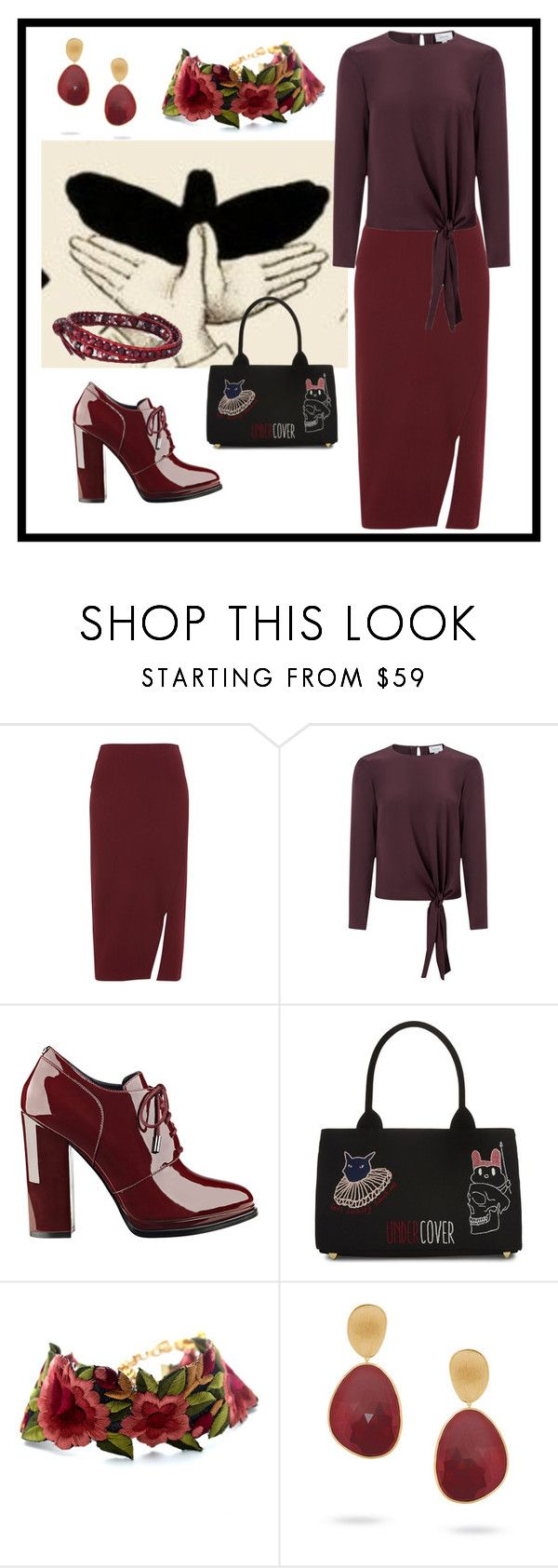 """""""Mini Tote Bag"""" by dundiddit ❤ liked on Polyvore featuring GE, Whistles, Jigsaw, GUESS, Undercover, Child Of Wild, Marco Bicego and Chan Luu"""