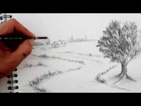 Landschaften zeichnen für Anfänger mit Bleistift   Natur zeichnen