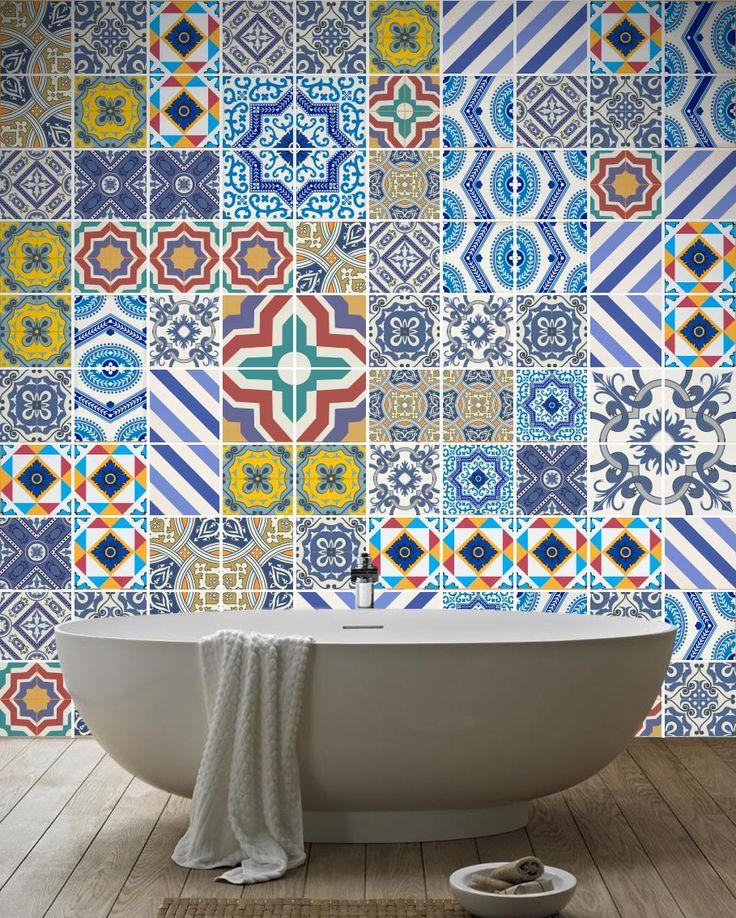 Las 25 mejores ideas sobre azulejos pintados en pinterest - Vinilo para azulejos ...