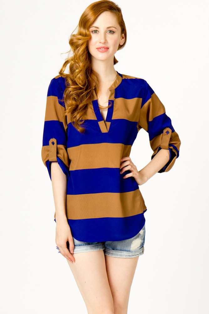 brown and blueStripes Popovers, Woman Fashion, White Shorts, Bold Stripes, Style, Shirts, Big Stripes, Gingers, Products