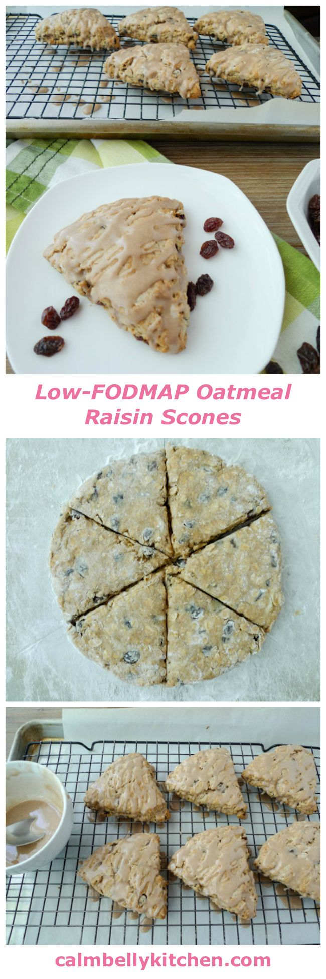 Low-FODMAP, gluten free scones with oats, raisins and cinnamon glaze. You'd never know they're gluten free!