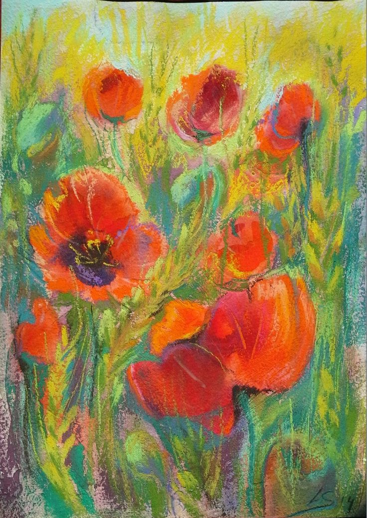 Original Pastel Painting: Lovely poppies