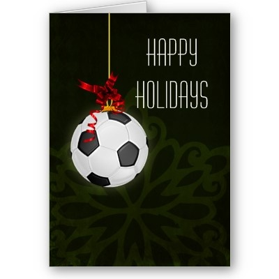 soccer #Christmas #holiday #soccer #football #sports greetings #cards #red #elegant