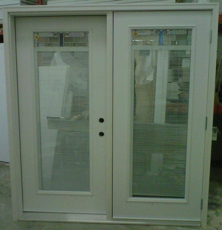 """36"""" LHI / RHO 2x6 Split Garden Door   White Fiberglass Doors   w/ 2264 Zinc Prairie Lights Ultima Door Lites   (with Blinds Between Glass)   White Composite Jamb & Brick Molding"""