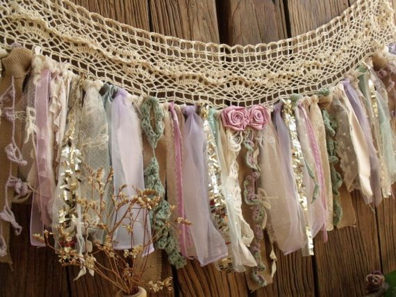 Custom Vintage Lace Burlap Valance, Lavender Mint & Gold Sequin Garland, Fabric Banner, Sparkle Nursery Garland Curtain Window Treatment