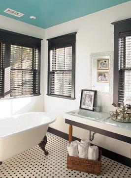 10 Gorgeous Black And White Bathrooms | Houzz Black Trim and white walls