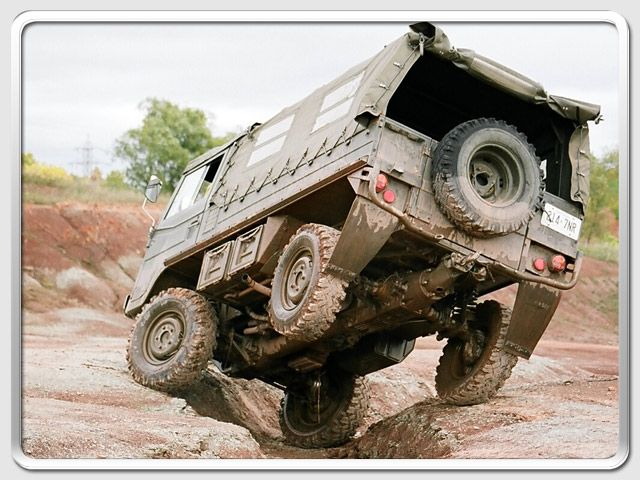 pinzgauer. I want one. This is how I normally drive out of my driveway.  But it isn't so pretty or fun with a Subaru!