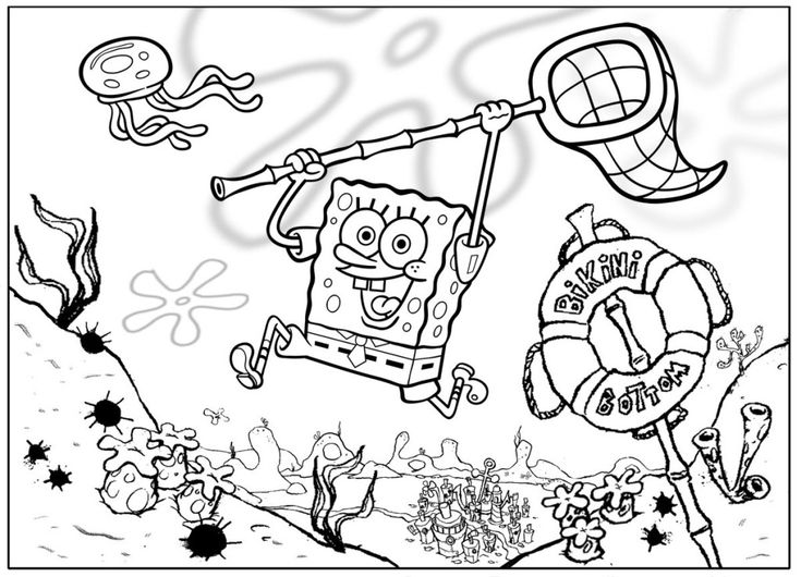 Sponge Bob Coloring Page Free Pages For Kidsfree 2014
