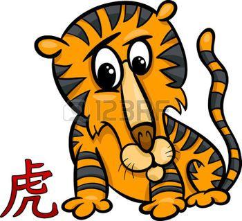 Cartoon illustrazione di tigre cinese Oroscopo Segno zodiacale photo