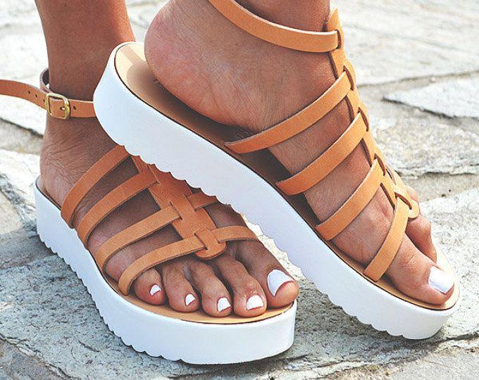 Vrouwen natuurlijke Sandal leerschoenen, Gladiator sandalen, lederen schoenen