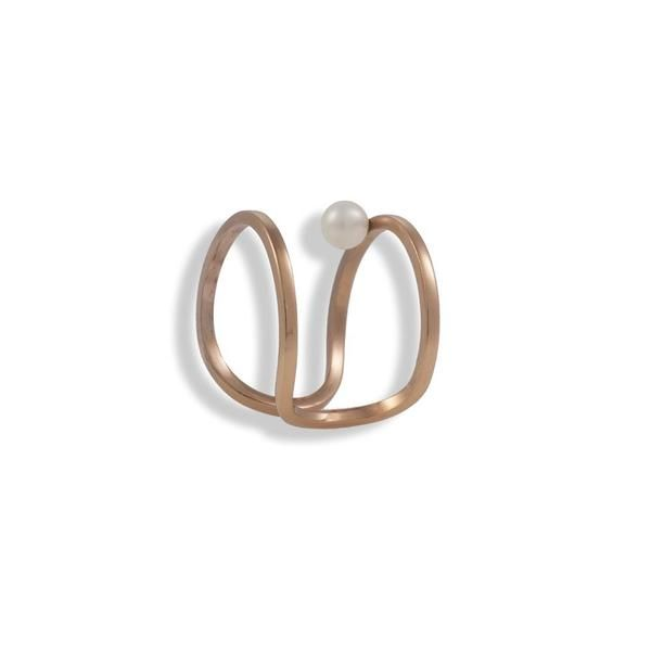 Rose Gold Plated Silver Ring With A Pearl - Anthos Crafts - 1
