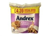 Buy 2 for £3.50 each  - Celebrating the Puppy's 40th Birthday!    Puppies on a Roll - 9 rolls of 2 ply tissue. Average 210 sheets per roll.  Collect your andrex puppy points.