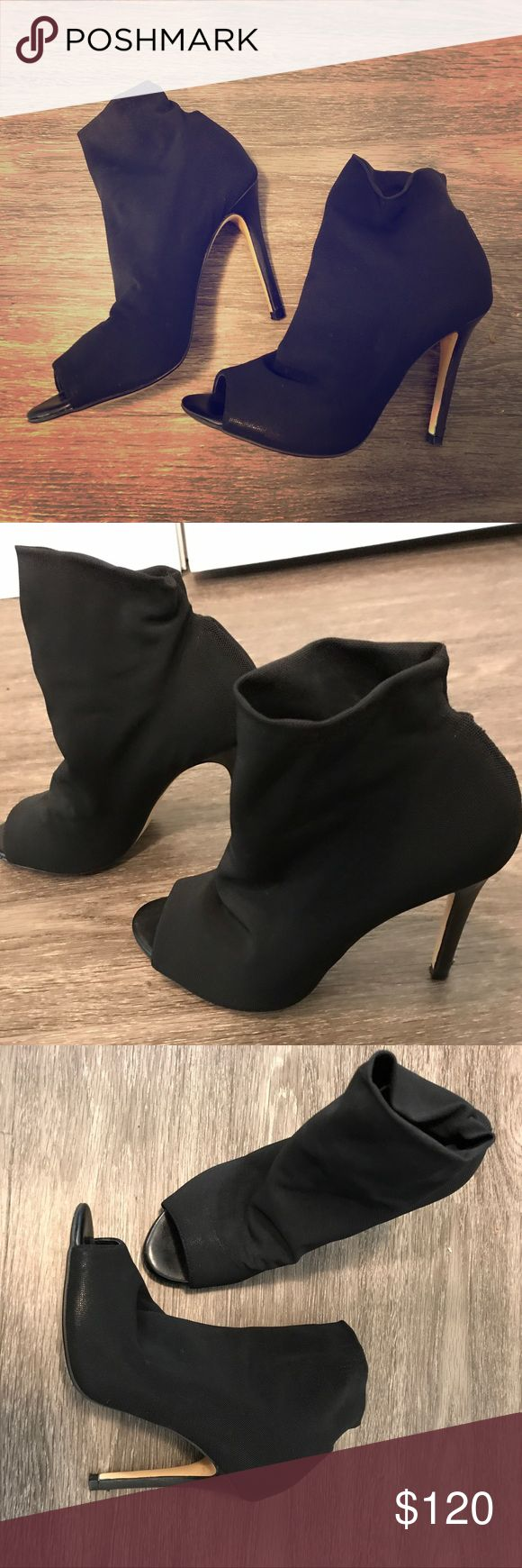 Karen Miller size 7 high heel booties like new Like new, worn once. High heeled booties with peep toe. Karen Millen Shoes Ankle Boots & Booties