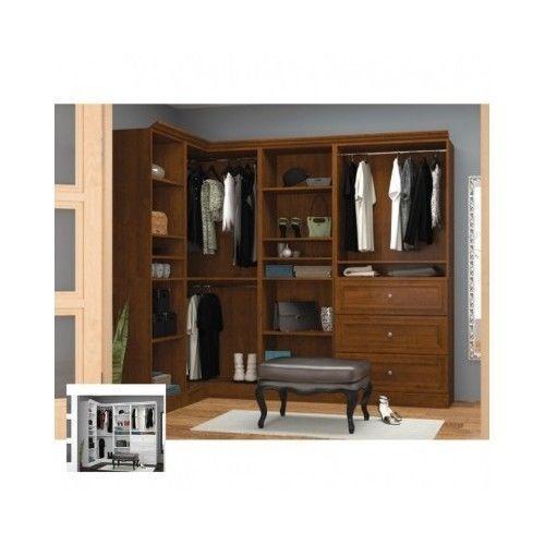 Wood-Storage-Closet-Corner-Wardrobe-Unit-Walk-In-Organizer-Shelving-Armoire-Home