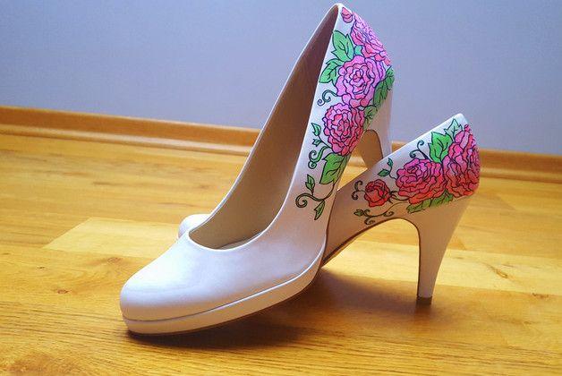 Szpilki w kwiaty ręcznie malowane - Balbina-art - Pozostałe
