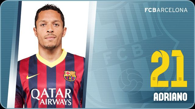 Adriano joined Barça on July 17th, 2010 at the age of 25, after playing for six seasons at Sevilla. The Brazilian was Barça's second summer signing of 2010 following the capture of David Villa in June. Adriano Correia Claro (26 October, 1984, Curitiba) signed a four year contract with FCB, with the option of a further season and a 90 million Euro buyout clause, on July 17th, 2010.