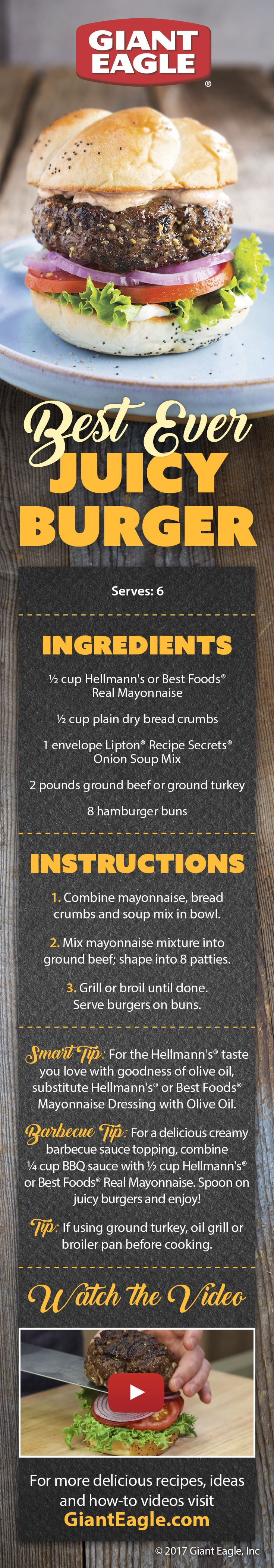 This is the Best Ever Juicy Burger recipe from Hellmann's Mayonnaise! Serve this to your guests for the 4th and there will be fireworks in their mouths!