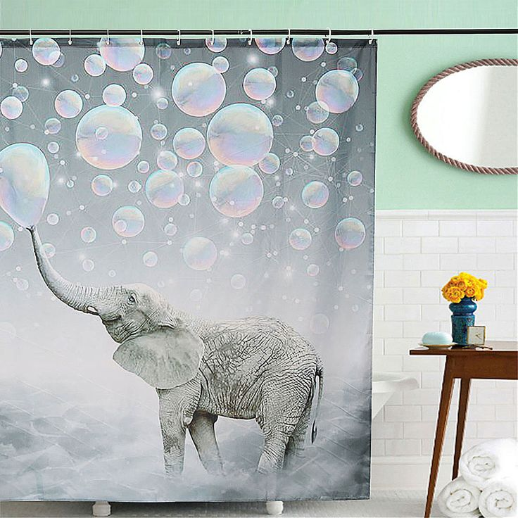 150 x 180cm Elephant Print Waterproof Bathroom Shower Curtain Panel Block Decor With Hooks  #home