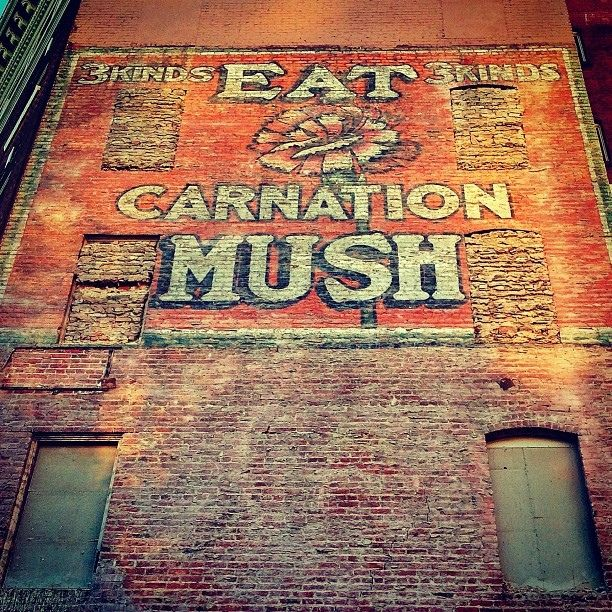 """""""Eat Carnation Mush -- 3 kinds, 3 kinds""""(!) ghost sign in San Francisco by mollyblock, via Flickr"""
