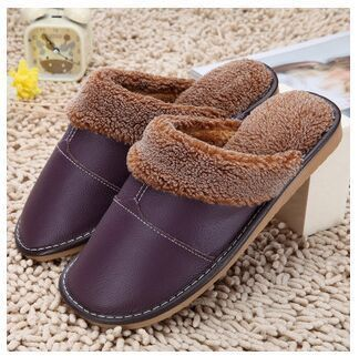 Plus Size 35-44 Genuine Leather Warm Winter Home Slippers Non-Slip Thick Warm House Shoes Cotton Women Men Slippers 5 Colors #MensSlippers