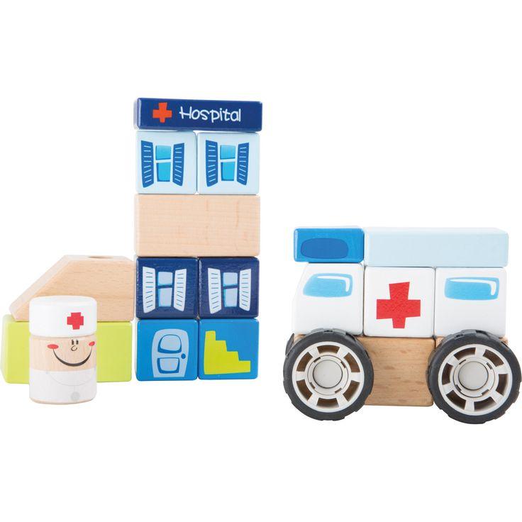 Jucăria educativă din lemn este distractivă și versatilă deopotrivă. Prevazut cu un sistem de asamblare ușor, ambulanța este gata oricând să preia cele mai urgente cazuri! Copiii pot de asemenea stivui cărămizile pentru a construi un spital.