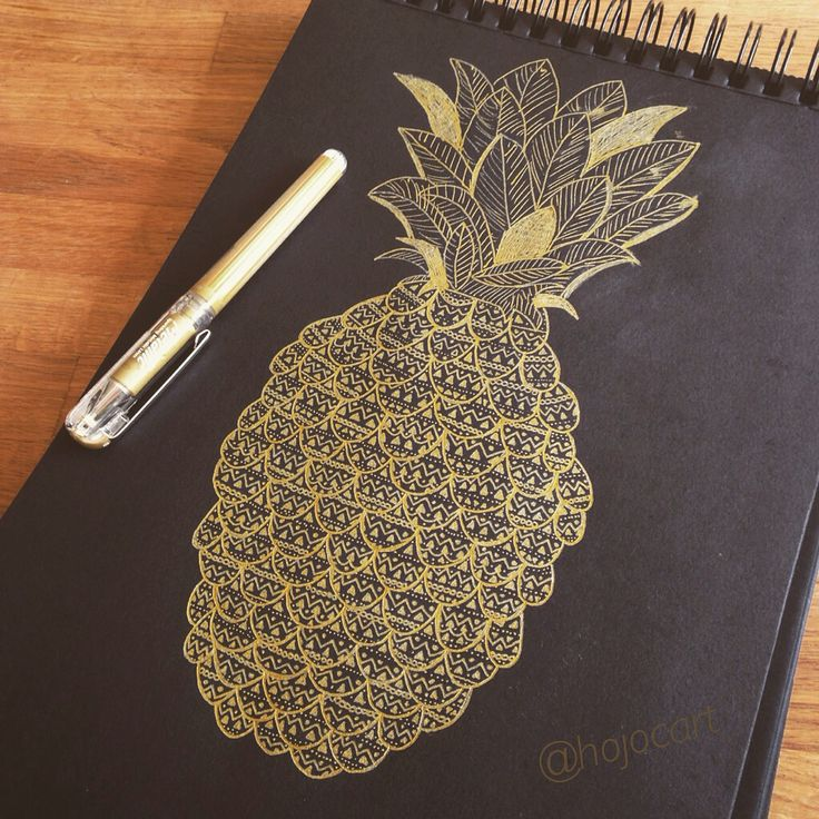 Golden ink pineapple