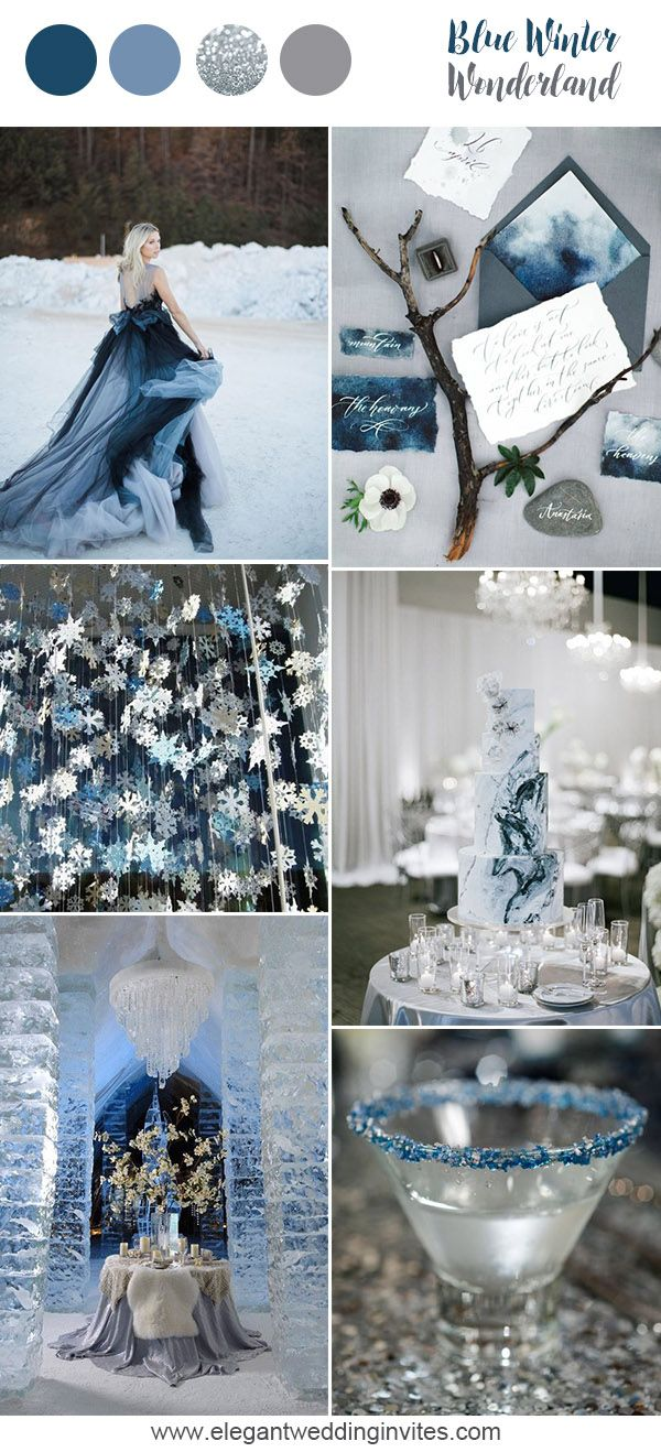 Whimsical winterwonderland blue wedding party inspiration