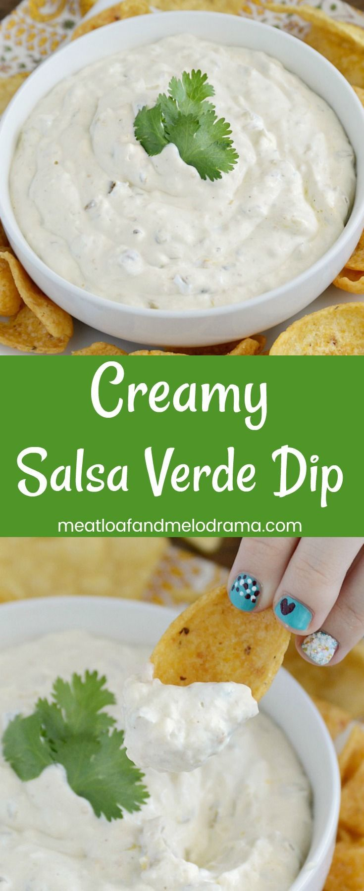 Creamy Salsa Verde Dip is an easy chip dip made in less than 5 minutes with only 3 ingredients. It's perfect for parties, potlucks, game day or every day snacking!
