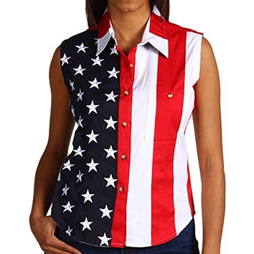 Special Offer: $29.99 amazon.com Woven American Flag Sleeveless Flag Stars Women's Polo Shirt The sleeveless, full button down, ladies patriotic flag shirt, is the perfect wear for patriotic holidays, family gatherings and much more. The shirt features the American flag with vertical...